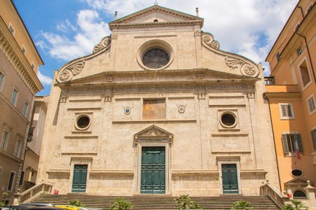 The Basilica of St. Augustine in Rome city. SantAgostino is a Roman Catholic church in the piazza of the same name near Piazza Navona.