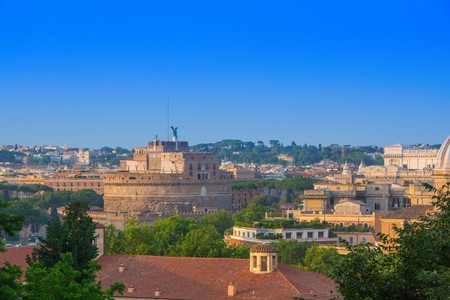Top view on Castel Sant Angelo (Castle of the Holy Angel) a view from the Gianicolo (Janiculum) hill, Rome, Italy.