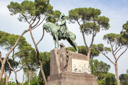 Monument of King Umberto I in Rome, Italy. Equestrian statue to Umberto of Savoy, Villa Borghese gardens,