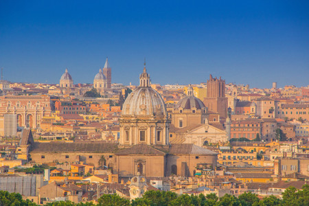 Panoramic view of historic center of Rome, Italy. Beautiful view of Rome, sunny summer evening. Aerial panoramic cityscape of Rome.