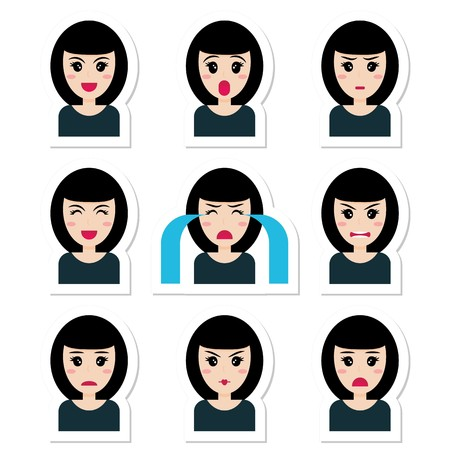 Flat cartoon character cute girl with black hair, different emotions. Vector set of emotion girl: joy, laughter, smile, embarrassment, anger, chagrin, annoyance, surprise, cry, unhappy. Sticker style.