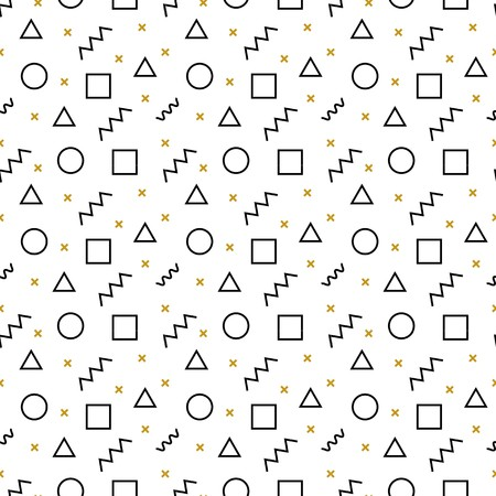 Memphis seamless pattern. Abstract vector pattern of simple geometric elements and shapes. Black and gold geometric elements on white background. Hipster style Memphis background.