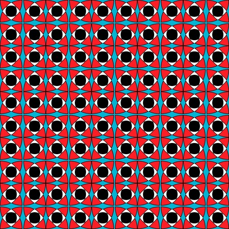 Contrast modern tile pattern, black, white, blue, red, pink colors. Geometric seamless vector pattern, contrasting bright colors. Endless texture, vector ornament.