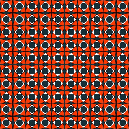 Contrast modern tile pattern, bright orange and blue colors. Geometric seamless vector pattern, contrasting bright colors. Endless texture, vector ornament.