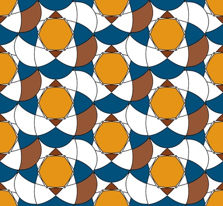 Vector seamless pattern. Abstract pattern with contrasting colors. Yellow, blue and brown colors. 向量圖像