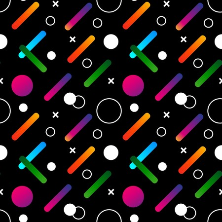 Abstract geometric black pattern. Colorful gradient shapes composition. Pattern with black background and colorful gradient elements.