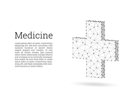 Medical cross low poly wireframe style. Medicine, first aid concept. Medical and pharmacy vector sign. Abstract polygonal design of medical cross. White background, black lines, polygons and points.