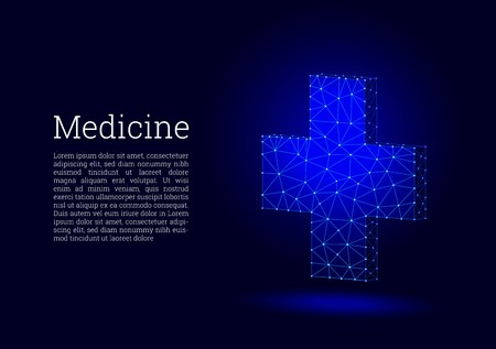 Medical cross low poly wireframe style. Concept of medicine and first aid. Medical and pharmacy vector sign. Abstract polygonal design of medical cross. Polygon vector wireframe concept.