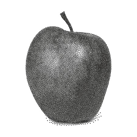 Graphic black and white apple. Vector stylized apple isolated on white background. Stipple vector apple illustration. Apple in stippling technique. 向量圖像