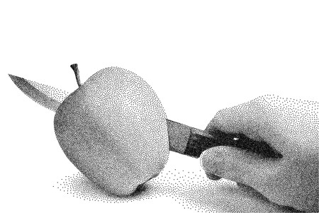 Apple is cut with a knife. A womans hand with a knife cuts an apple. Stipple vector illustration. Apple in stippling technique. Apple in the process of cutting.