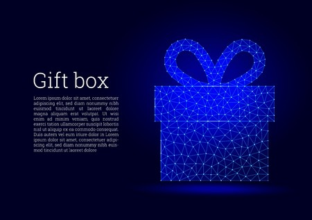 Gift box low poly design. Glowing gift box with ribbon bow made of triangular shapes, lines, and dots on dark blue background. Futuristic wireframe design, connection structure. 向量圖像