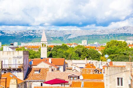 Top view of Split town, Croatia. Sunny summer day. Cityscape of old town Split. 版權商用圖片