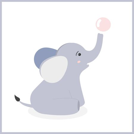 Cute little elephant sits and blows out a bubble. Vector illustration. Baby elephant playing with a bubble. 向量圖像