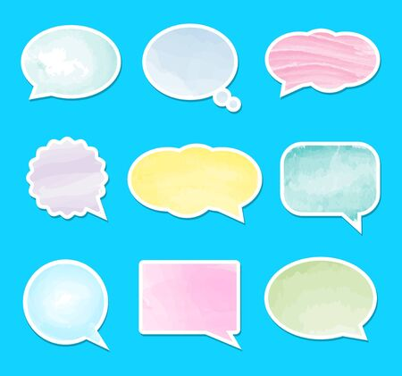 Vector speech bubble set. Vector watercolor illustration. Collection of talk and think comics bubbles.