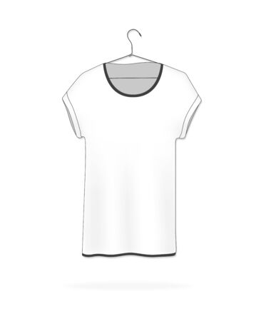 White blank t-shirt hanging on a hanger, vector illustration. T-shirt mock-up. Blank white T-shirt template.