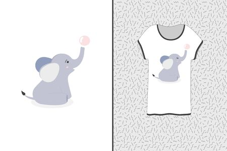 Cute design for a T-shirt. Watercolor baby elephant playing with bubble. Print for T-shirts, sweatshirts and souvenirs. Vector illustration. Graphic t-shirt vector design.