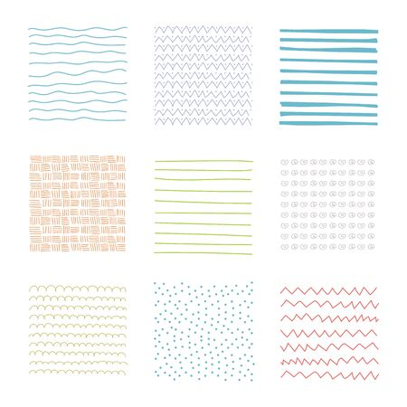 Simple sketch texture. Set of hand drawn design elements. Vector abstract textures.