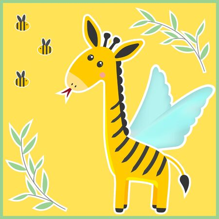 Unusual fantastic animal. Cute miracle beast made up of pieces of different animals. Funny creature includes body of a Giraffe, tail of a Lion, stripes of a Bee, tongue of a Snake, wings of a Moth.