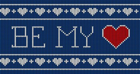Be my valentine. Knitted pattern vector illustration. Scheme for knitted sweater pattern design or cross stitch embroidery. Design for Valentines day. Archivio Fotografico - 137790161