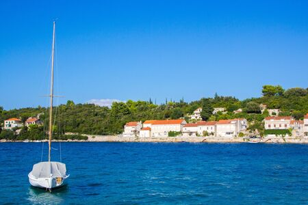 Quiet picturesque village by the sea. Korcula, Croatia. According to local tradition, it was in Korcula that the great traveler Marco Polo was born in 1254. Reklamní fotografie