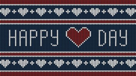 Happy Valentine Day. Knitted graphic card or banner. Greeting on Valentine's day. Vector illustration in knitted style.