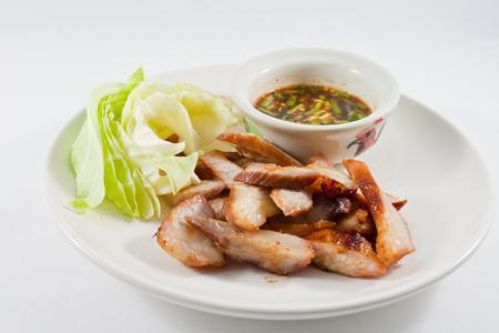 Pork neck grilled,,Thai food  photo