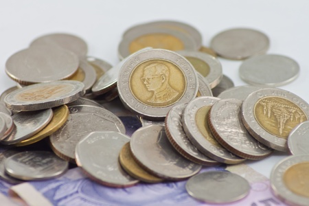 Thai Baht. Piggy bank Placed on a white background. photo