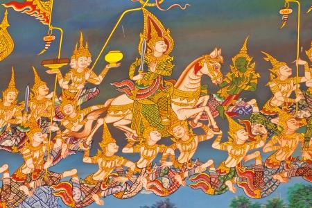 thai painting: Thai art wall Buddha in temple thailand