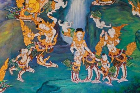 Thai art wall Buddha in temple thailand