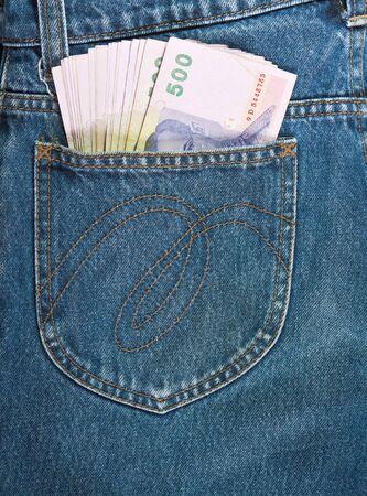 500 baht bill in jean pocket,Thailand money  Stock Photo