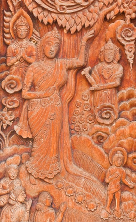 Thai art wall  in temple thailand  photo