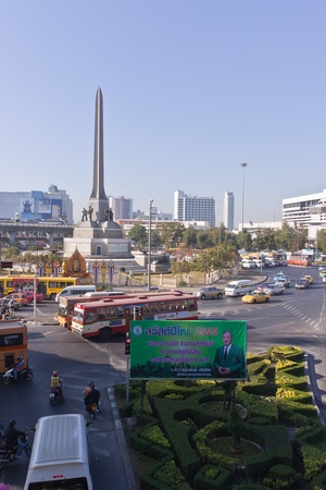Bangkok, Thailand - December 30: The traffic around the Victory. Monument. In the heart of Bangkok on 30 December to July 2011 in Bangkok. Stock Photo - 11786278