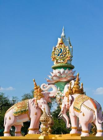 Elephant sculpture in Bangkok, Thailand.  Editorial