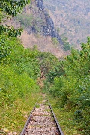 Railway beside the River Kwai in Kanchanaburi Thailand Stock Photo - 17157156