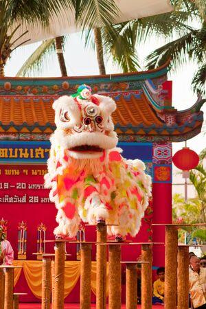 BANGKOK,THAILAND-JANUARY 20:  lion dance dressing during parade in Chinese New Year Celebrations on January 20, 2013 in BANGKOK Redakční