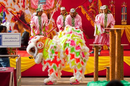 BANGKOK,/THAILAND-JANUARY 20:  lion dance dressing during parade in Chinese New Year Celebrations on January 20, 2013 in BANGKOK Stock Photo - 17713318