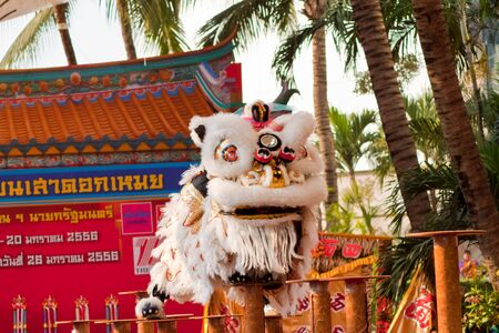 BANGKOK,/THAILAND-JANUARY 20:  lion dance dressing during parade in Chinese New Year Celebrations on January 20, 2013 in BANGKOK Stock Photo - 17713291
