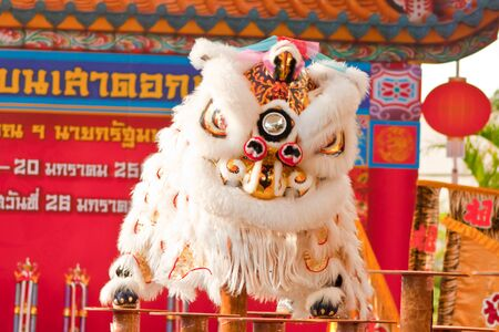 BANGKOK,/THAILAND-JANUARY 20:  lion dance dressing during parade in Chinese New Year Celebrations on January 20, 2013 in BANGKOK Stock Photo - 17713258