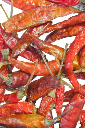 hottest: dry red pepper on white background Stock Photo