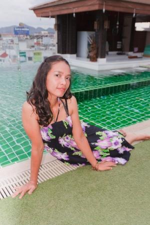 Thai Girl Portrait Swimming pool  photo