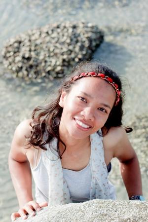 Thai Girl Portrait On the beach  photo
