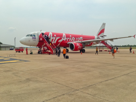 BANGKOK, THAILAND - APRIL 17, 2014  run on the runway from the low cost airlines in Asia   aircraft in Bangkok airport on APRIL 17, 2014 Air Asia company is the largest low cost airlines in Asia