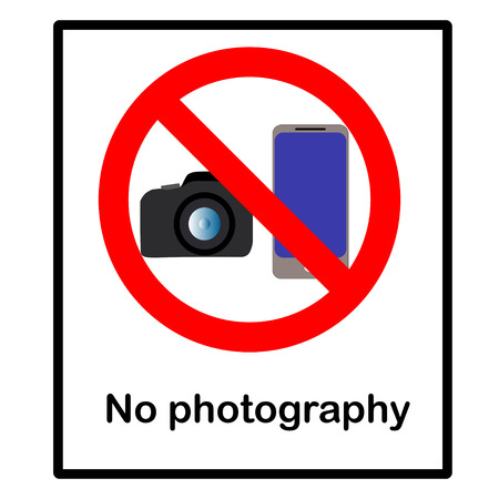 a public notice: No photography sign, vector illustration