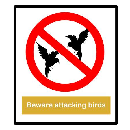 Beware attacking birds Signs Stock Vector - 28297671
