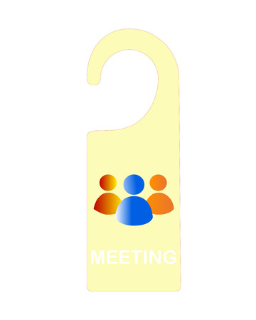 small office: meeting table sign, vector illustration