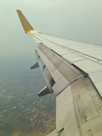 sky Airplane wing flying Stock Photo
