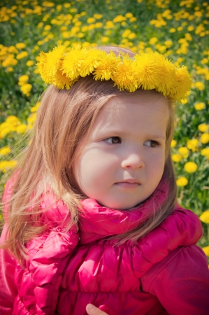 teddy wreath: Little girl with floral wreath on her head