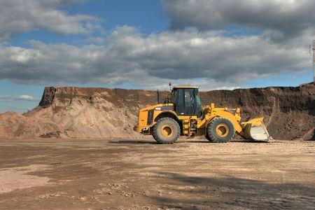 excavate: The heavy building bulldozer Stock Photo
