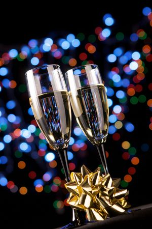 Champagne glasses with decoration Stock Photo - 3881551