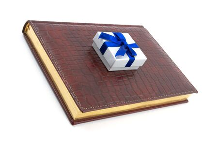 datebook: Business gift on leather datebook Stock Photo